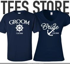 Set of Premium Mr. and Mrs. Shirts / Couple Shirt /  His and Her Shirts / Groom Shirt / Bride Shirt / His Anchor / Her Sail / 238 by TeesStore on Etsy