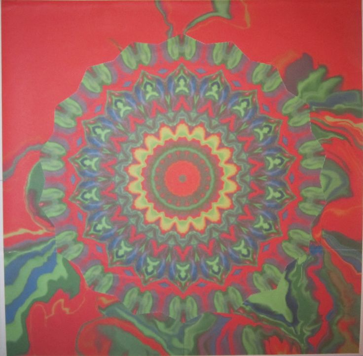 "mandala ""Green in Red"" - project of a painting - collage, paper, an image editor by HELENA HEYAK https://www.facebook.com/helenaheyak.art"