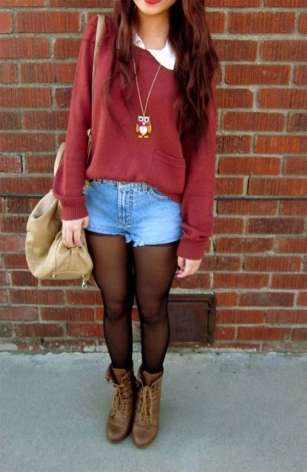 Red plain sweatshirt with pocket/White collar shirt/Shorts/Black see through leggings/Brown combat boots/Beige purse/Owl necklace: