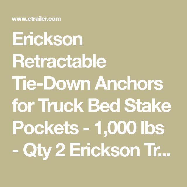 Erickson Retractable Tie-Down Anchors for Truck Bed Stake Pockets - 1,000 lbs - Qty 2 Erickson Truck Bed Accessories EM01003