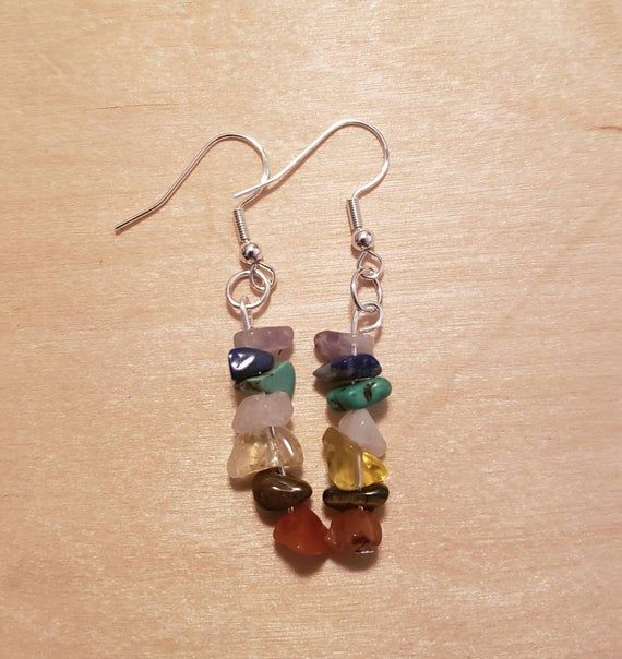 Red and Green Pearl Chakra Earrings