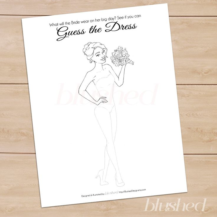 Unique Bridal Shower Game: Guess The Dress by BlushedDesign