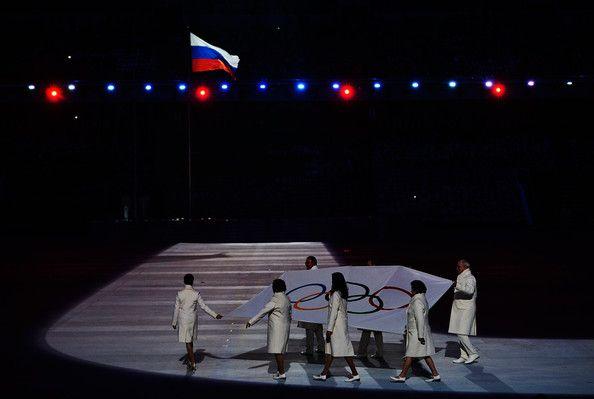 Olympic flag bearers Chulpan Khamatova, Lidiya Skoblikova, Anastasia Popova, Valentina Tereshkova, Vyacheslav Fetisov, Valeriy Gergiev, Alan...