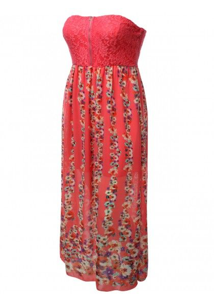 Tube Top Floral Chiffon Maxi Dress #jtomsonplussize
