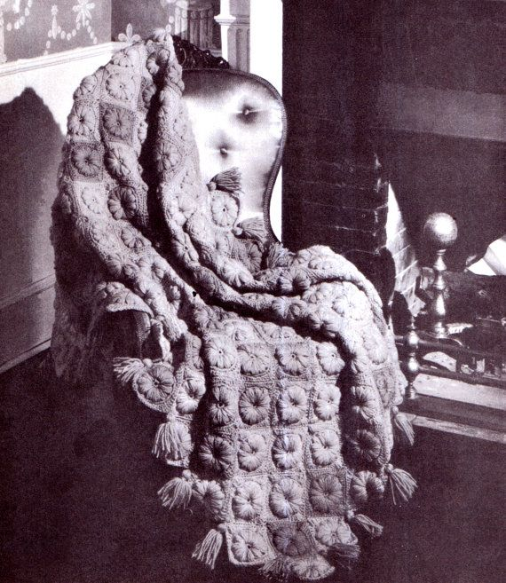 PDF Vintage 1950s Afghan Crochet Pattern Granny Square Throw