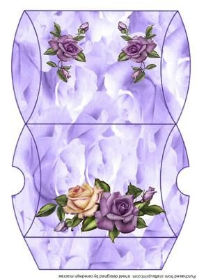 lovely Lilac roses ona pillow box  on Craftsuprint designed by Ceredwyn Macrae - A lovely Pillow box to make and give to anyone on there special day this can be used for many occasions, and has beautiful lilac and cream roses , - Now available for download!