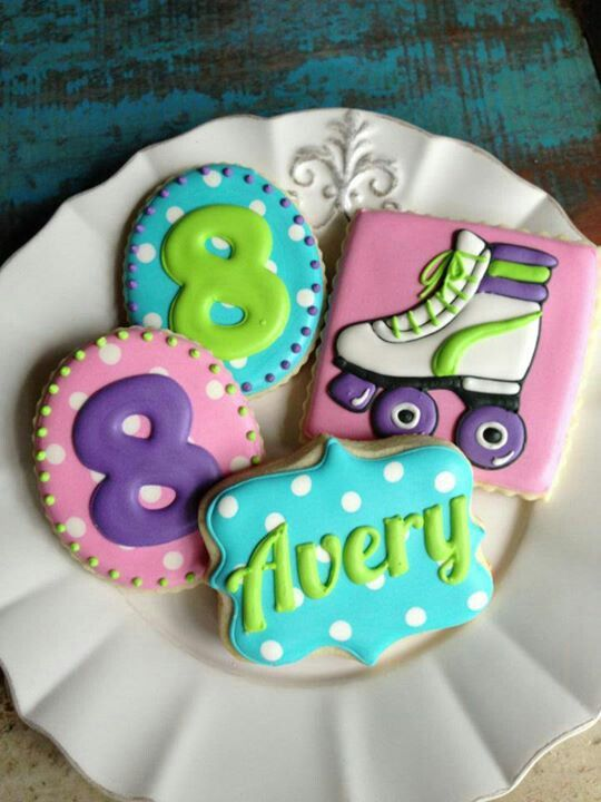 Roller skating party cookies LIKE THE COLORS