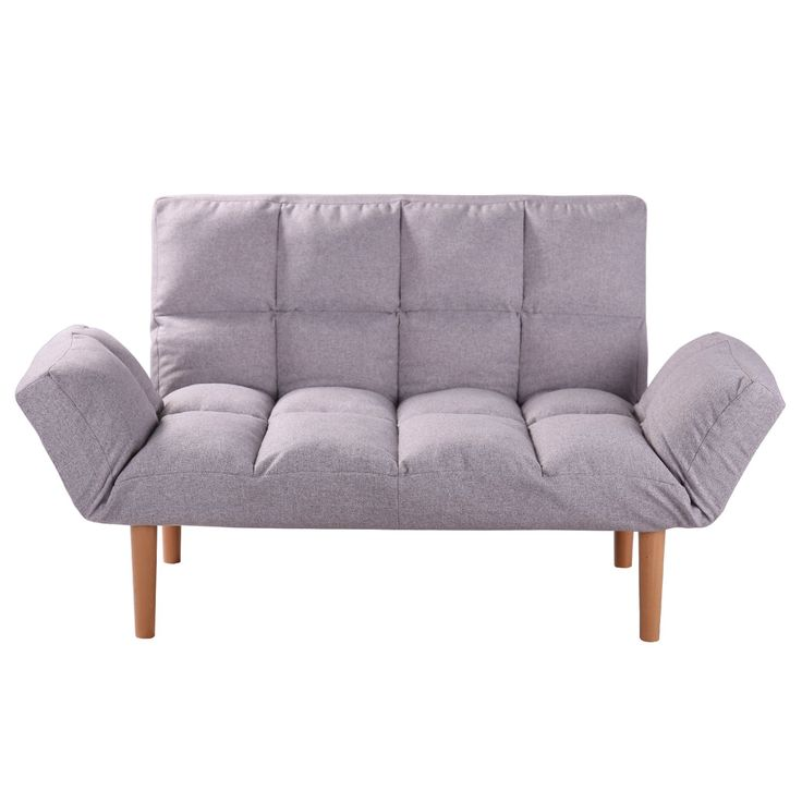 Convertible Loveseat Folding Couch Modern Grey Small Foldable Futon Sofabed with Solid Wood Legs for Kids and Apartment,QVB Grey Color