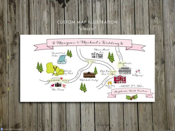 Custom Wedding Map, JPress Designs, wedding, travel, guest guide, destination wedding, save the date, custom map, illustration, Highlands