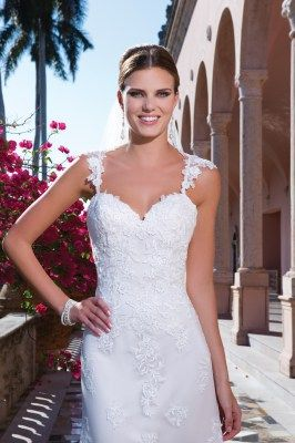 Fit and flare wedding gown with scattered lace and criss cross straps, Sweetheart - 6061