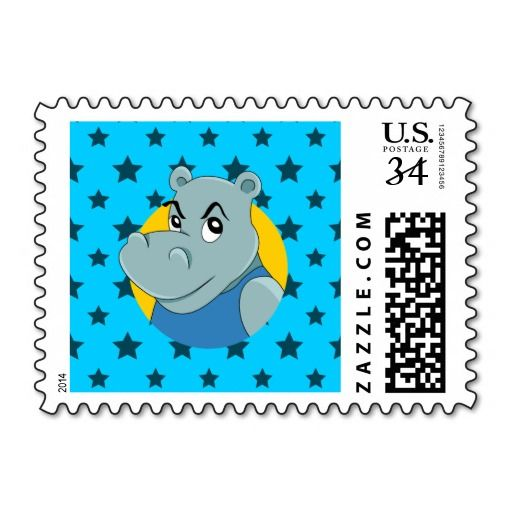 Cute hippopotamus cartoon postage stamps