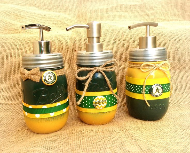 Oakland Athletics soap dispenser, mason jar soap pump, oakland A's by QUEENBEADER