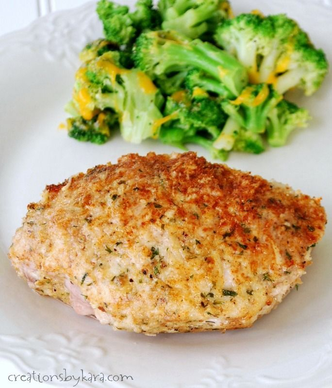 This recipe for Parmesan Crusted Pork chops makes chops that turn out tender, juicy, and flavorful every time!