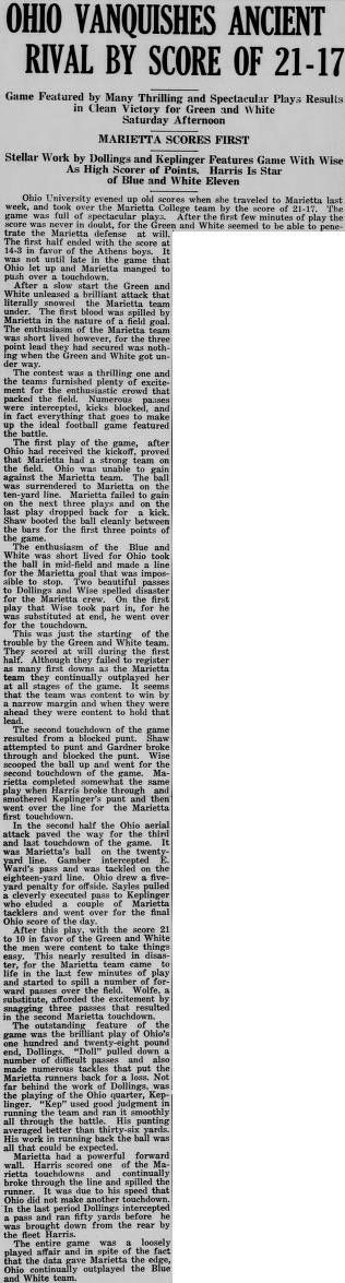 """Green and white (Athens, Ohio) November 14, 1924. Football. """"Ohio vanquishes ancient rival by score of 21-17."""" OU beat Marietta. :: Ohio University Archives. Game played at College Field at Fifth and Greene Streets in Marietta."""