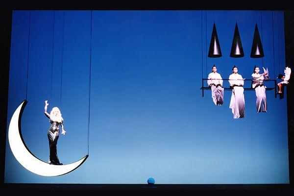 Una Pantalla de retroproyección realizada con el film RTE - Temporale. La pantalla es aquí utilizada con una simple retroiluminación cromática. Teatro Real, ''O corvo branco''