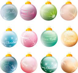 colorful christmas baubles with greetings and snowflakes