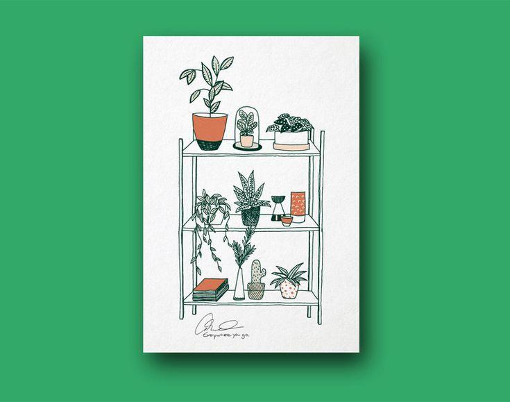 Illustrationen - Botanical living   A3 Poster - ein Designerstück von everywhereyougo bei DaWanda