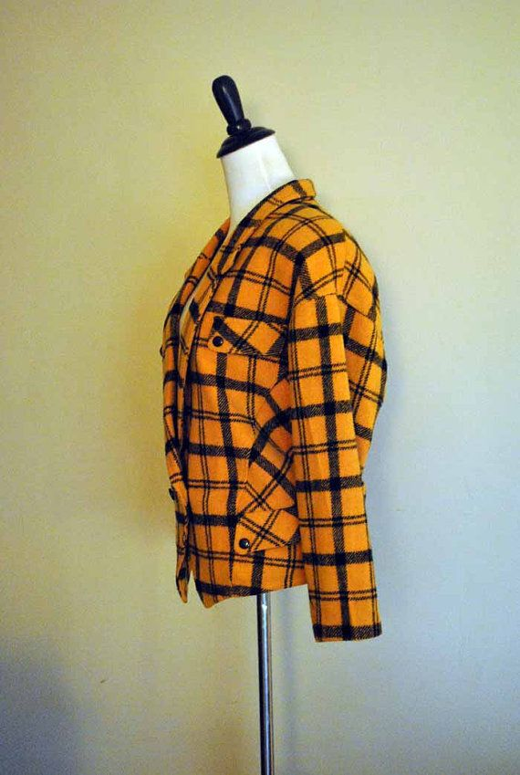 80s Cropped Jacket/ Mustard Plaid Wool Coat / Size by miskabelle Size Large $30