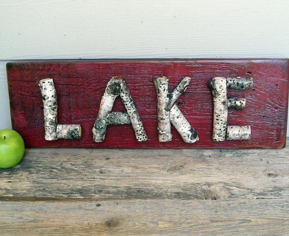 Rustic Lake Sign, Real Stick Letters, Red Wood Sign, One of a Kind, Primitive Sign, Birch Branches, Rustic Sign, Twigs