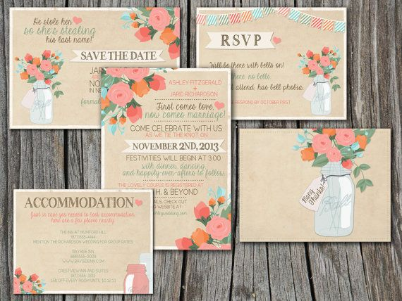Wedding Invitation Suite Set - Printable, Custom, DIY - RUSTIC, Flowers, Jars, Vintage