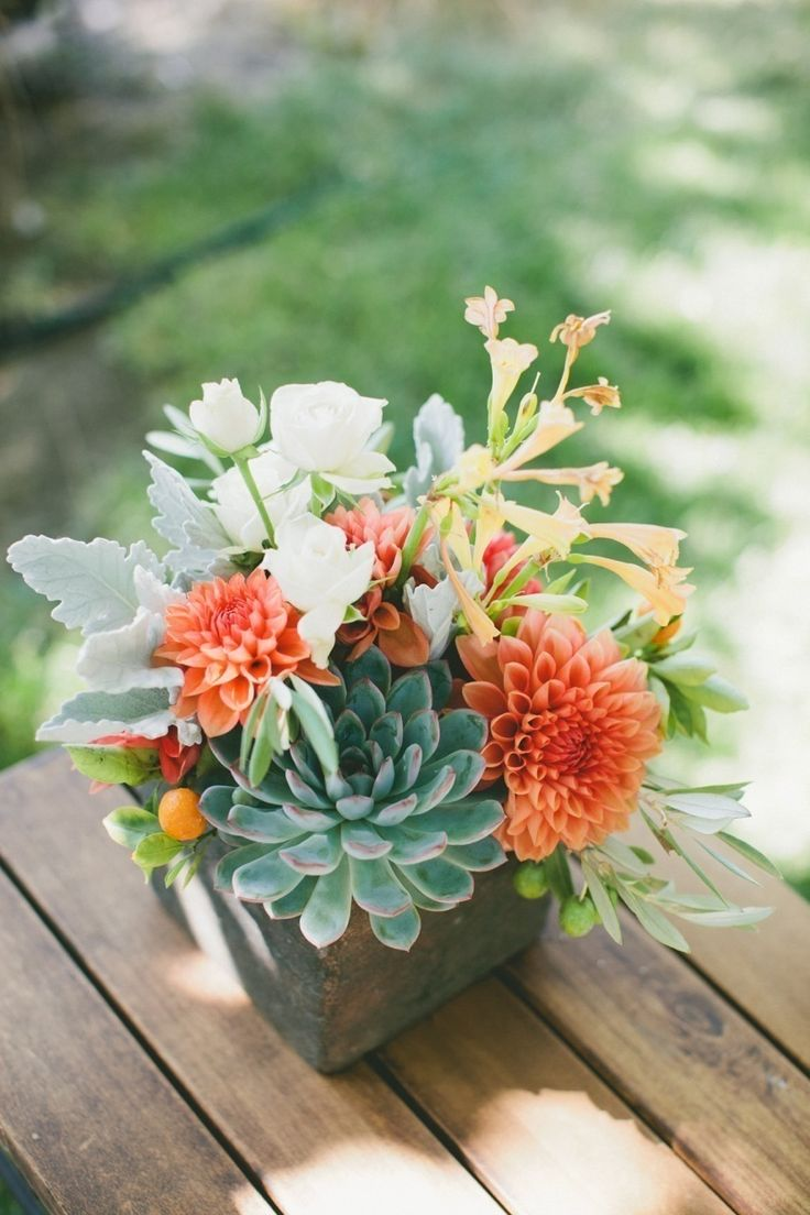Smaller-scale version of this (esp. dahlias & succulents) for centerpieces?