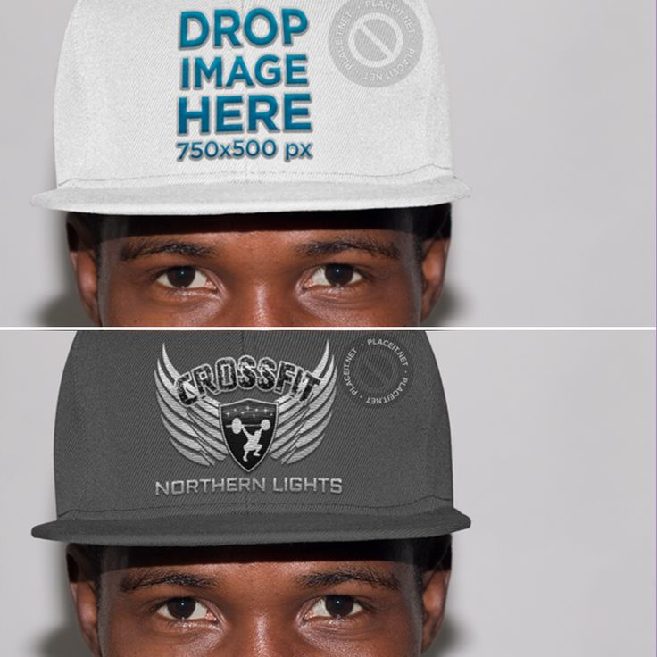 New Trendy Black Guy in a Studio Wearing a Snapback Mockup