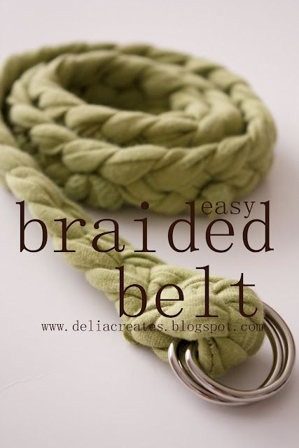 Braided t-shirt belt.  These would be so cute for my girls.  I can never find belts small enough for them!