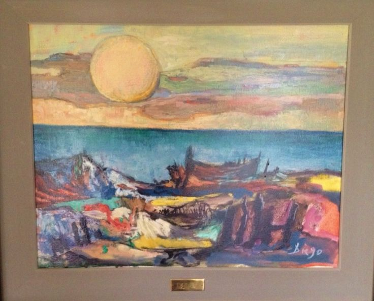 "DiegoVoci™  ""Seascape with Sun"" (15 3/4 x 20"") is the title #Diego gave this painting owned by Ted Brown (yes of the ""BROWN"" legacy who brought Diego to Colorado and hosted the Exhibition at the Broadmoor Hotel). For more see Marsha (Brown) Largent's story: http://www.artifactcollectors.com/diego-history-4330818/Page3.html#88"