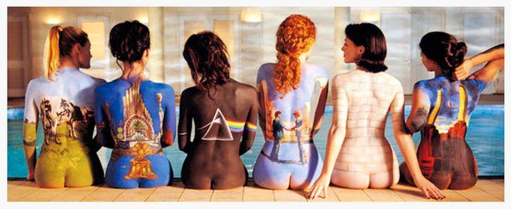 Quadro Poster Pink Floyd Back Catalogue Moldura Branca 162x57cm - Decore Pronto