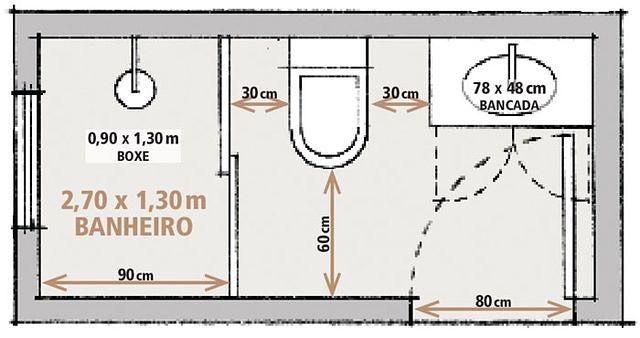 Dica:Medidas mínimas para projetar um banheiro retangular!
