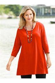 Plus Size 3/4 Sleeve Cotton ALine Tunic