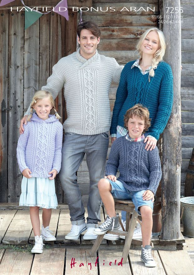 Family Sweaters in Hayfield Bonus Aran (7255) – Deramores