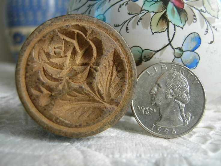 Miniature antique wooden butter stamp mold print carved