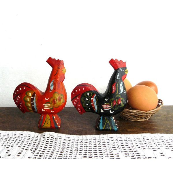 Scandinavian folk art Roosters set, 2 Primitive Handcarved Wooden... ($18) ❤ liked on Polyvore featuring home, home decor, holiday decorations, easter home decor, wooden figure, hand carved figurines, hand carved wood figurines and hand carved wooden figurines