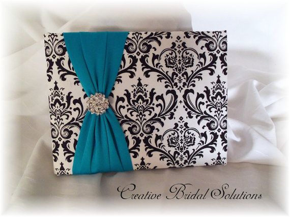 Madison Black and White Damask with Turquoise by CreativeBridal, $45.00