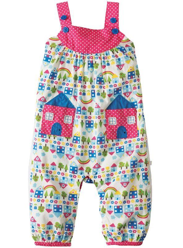 Frugi Springtime Overalls - Happy Houses Retro Baby Clothes - Baby Boy clothes - Danish Baby Clothes - Smafolk - Toddler clothing - Baby Clothing - Baby clothes Online