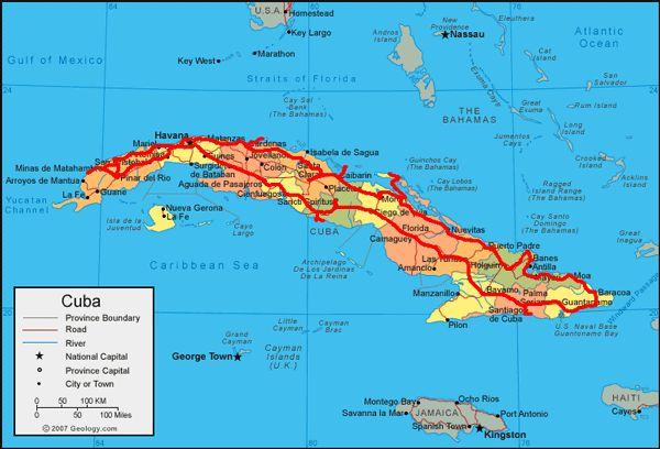 Mapa do roteiro de viajar em Cuba com carro alugado