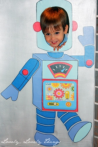 Robot Birthday photo cut out