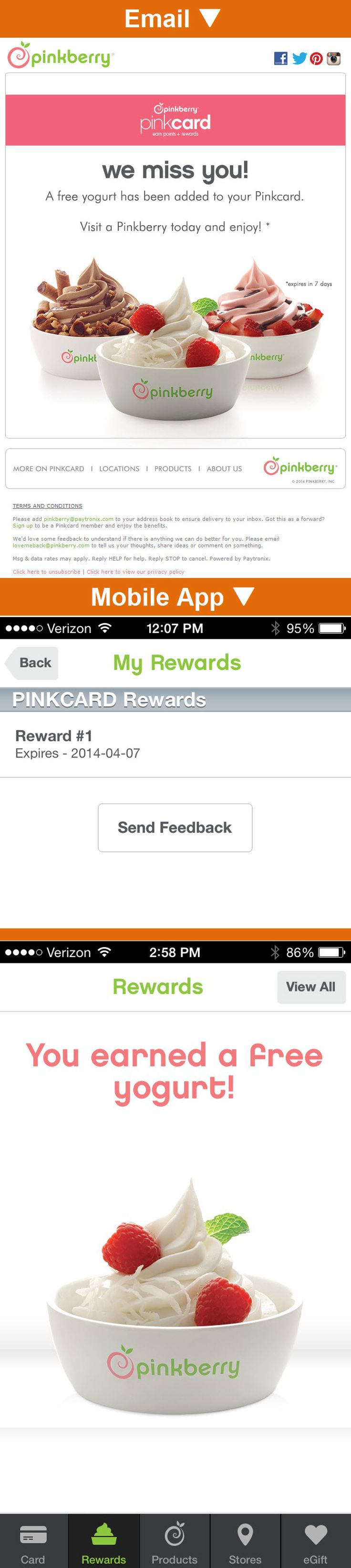 Pinkberry >> sent 3/2014 >> We Miss You! >> Because their mobile app is their loyalty card (as well as a payment card), this frozen yogurt chain pays close attention to app usage. I hadn't used mine in a few months and received this mobile app reengagement email that gave me a free reward to get me back in the yogurt-buying groove. —Todd Wilson, Manager, Strategic Services, Salesforce ExactTarget Marketing Cloud
