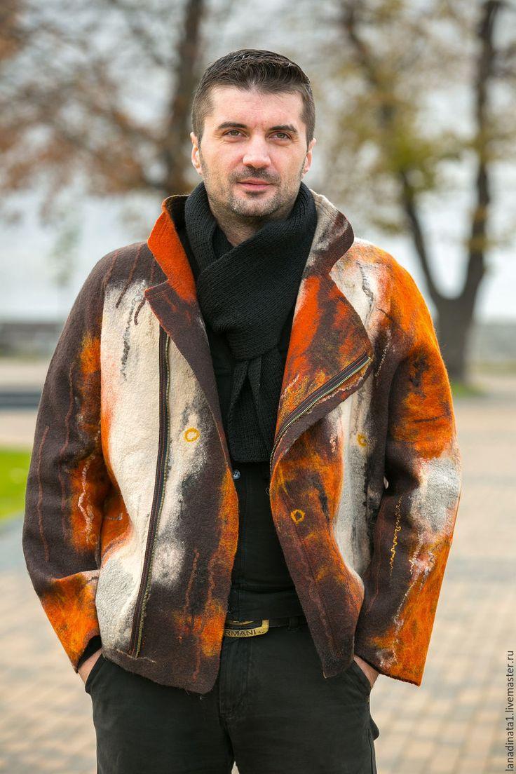 """Купить Куртка мужская """" Не скучная"""" , валяние, одежда из войлока - рыжий, абстрактный"""