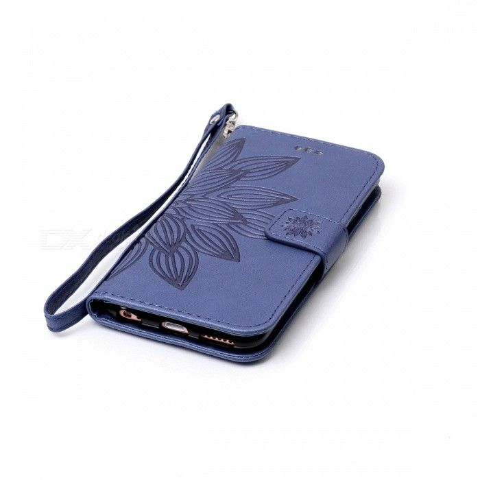3D Flower Pattern Leather Wallet Case for IPHONE 6 / 6S - Blue