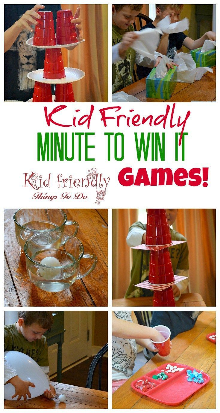Kid Friendly Easy Minute To Win It Games for Your Party - Simple and fun games for your holiday, school, New Years, or anytime party! http://www.kidfriendlythingstodo.com