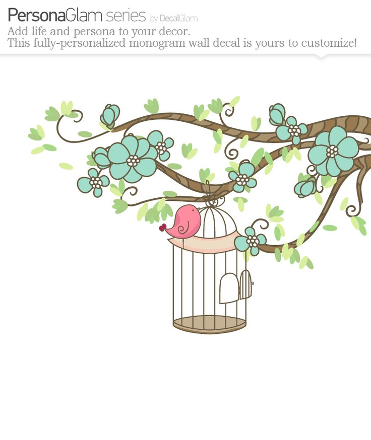 Children's Wall Art Decal - Baby Nursery Decal - Pottery Barn - Bird on Branch with Flowers Bird Cage Girls Decal. $74.00, via Etsy.