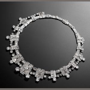 An impressive art deco diamond necklace, by Cartier, circa 1936