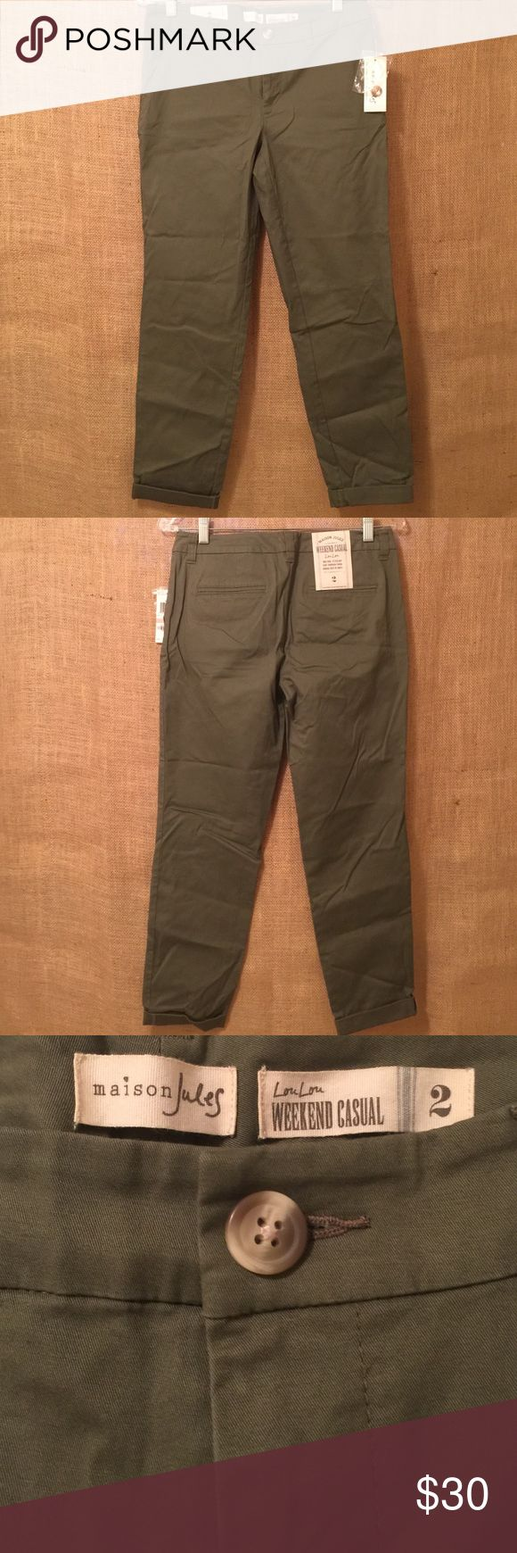 NWT Maison Jules Olive Ankle Pants NWT olive green rolled-cuff ankle pants. Mid-rise, easy through thigh. Excellent, never worn condition - from a smoke and pet free home! Will consider all offers! Maison Jules Pants Ankle & Cropped