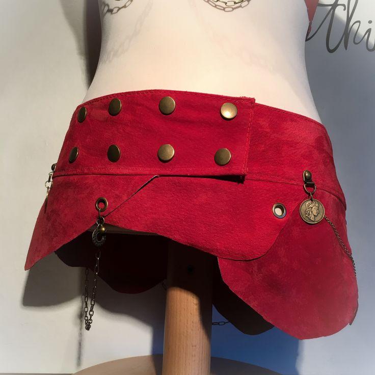 Leather skirt - Hip belt. Perfect costume for Burning man - festivals  - tribal - steampunk - burlesque