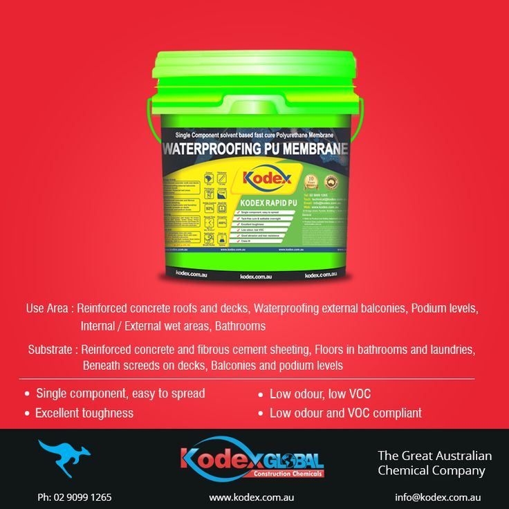 Use single pack waterproofing membrane, Kodex Rapid PU for the waterproofing of tiled terraces and non-exposed areas of your building. It packs an excellent crack bridging capability and its elastomeric behavior make it flexible in low temperatures. Click to know more about the product: http://www.kodex.com.au/wp-content/uploads/2015/02/Kodex-Rapid-PU.pdf