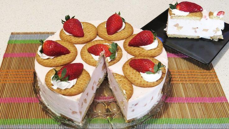 Tort cu Iaurt de Capsuni si Biscuiti (Fara Coacere) / No-Bake Strawberry Yogurt and Biscuits Cake!