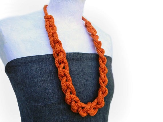 Necklaces - Long orange knitted necklace 40 euros