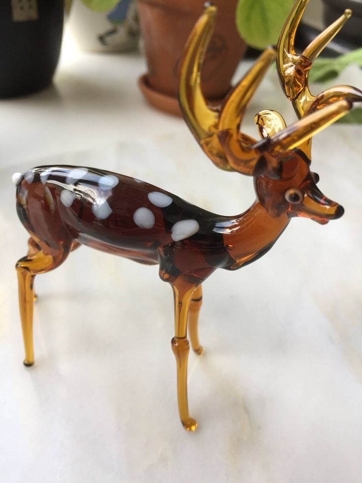 Glass/deer/figurine/Swedish/soft glass by WifinpoofVintage on Etsy